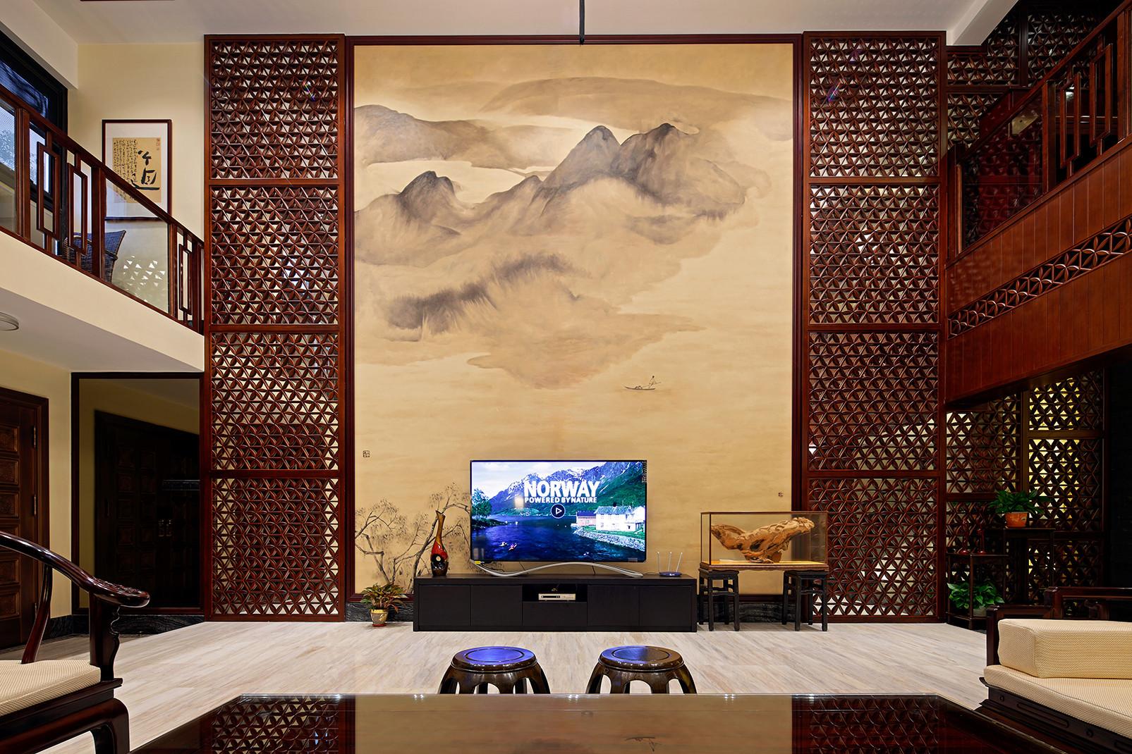 中式别墅装修设计电视背景墙图片