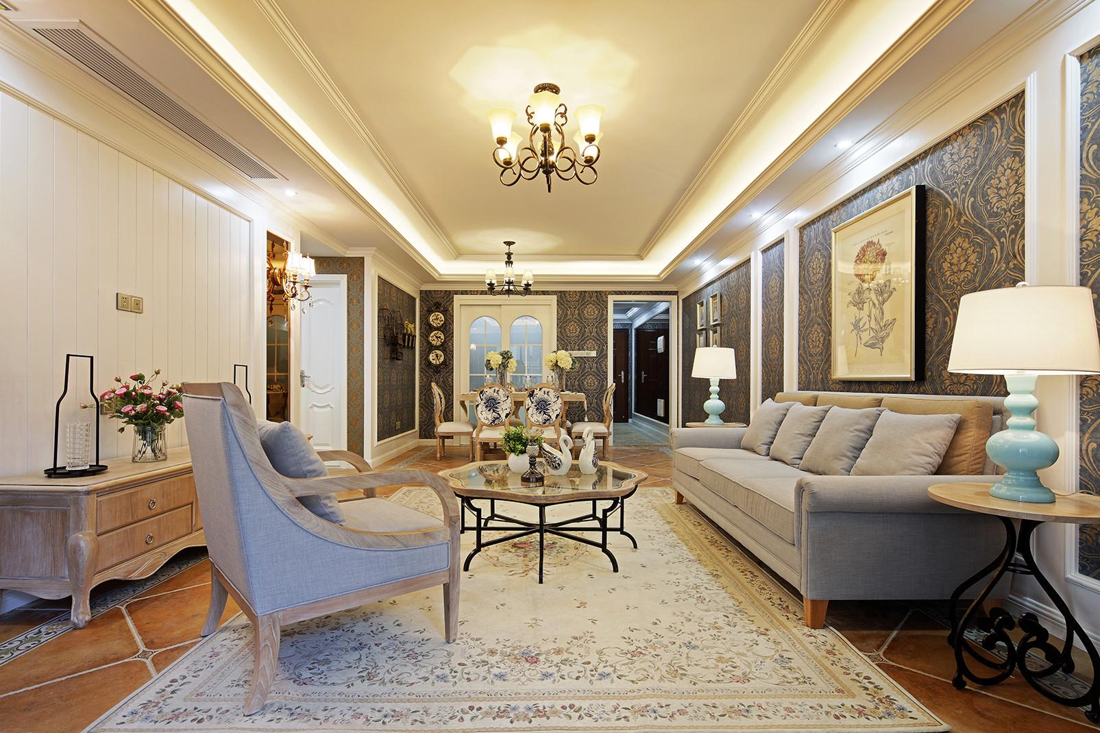 107平美式装修客厅效果图