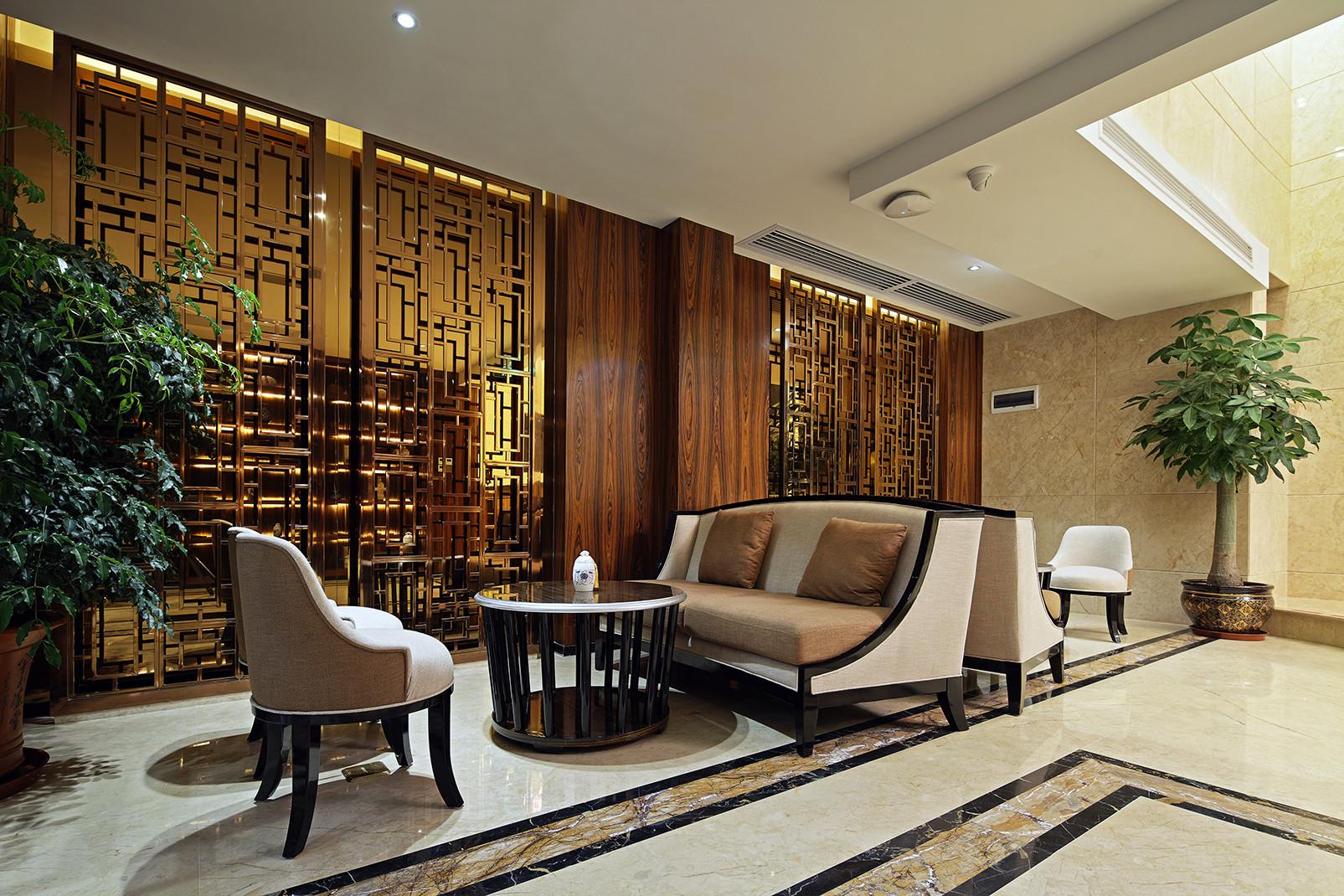 高级豪华俱乐部装修中式屏风设计