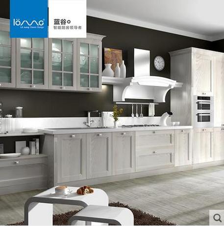蓝谷智能厨房 定做整体橱柜厨柜定制吊柜石英石台面 象牙黄木纹预订金