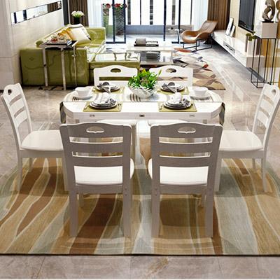 居美印尚现代简约白色可折叠餐桌