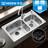 MOEN摩恩 304不锈钢厨房净铅龙头水槽双槽套餐洗菜双盆套装 23302+5069+7011 全国包邮(偏远除外)