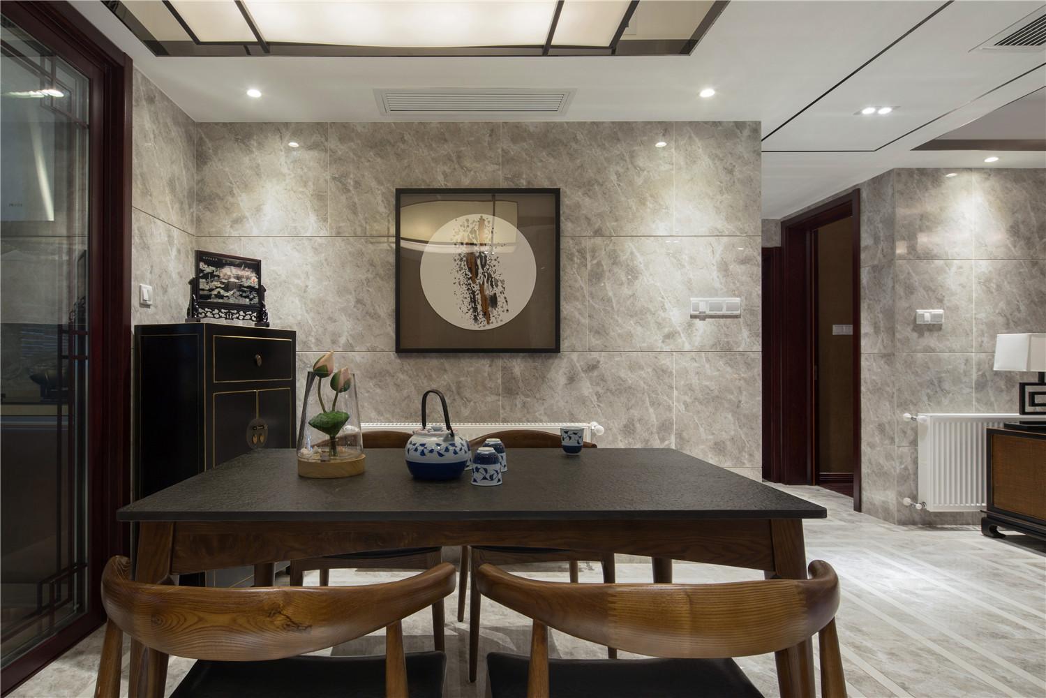中式三居装修餐厅背景墙图片