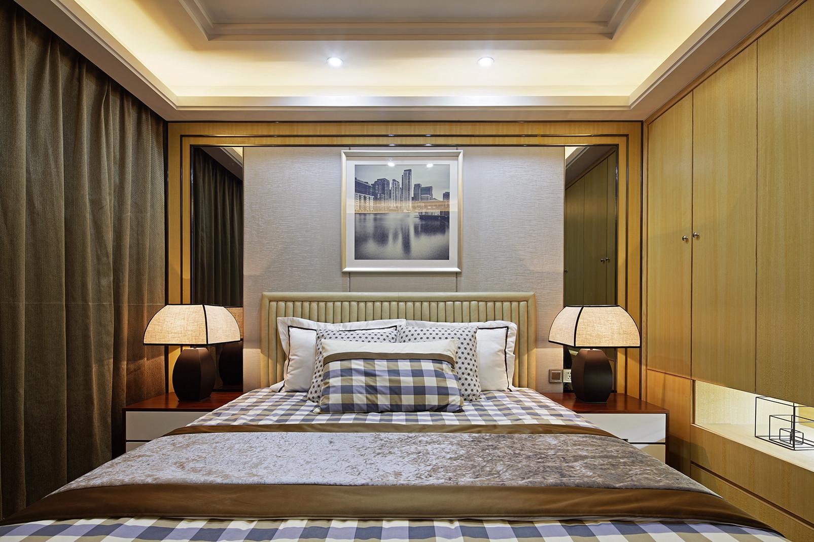 现代时尚三居床头背景墙图片