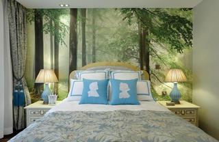 大户型美式田园家床头背景墙图片