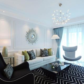 三居室摩登美式家 纯净优雅