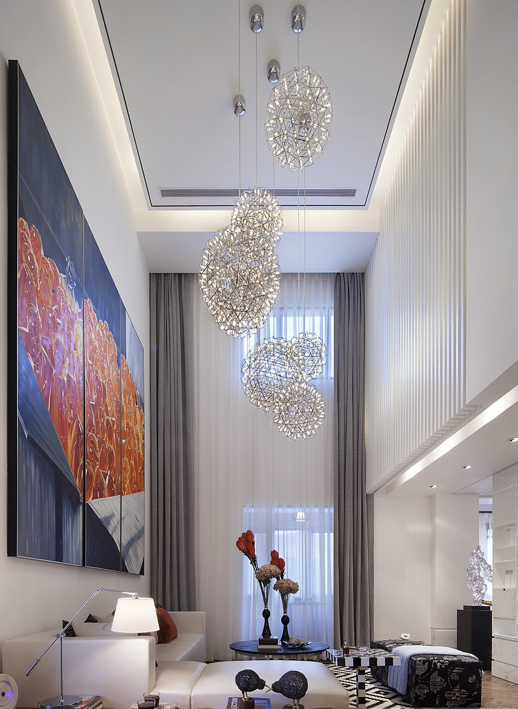 现代简约唯美别墅装修客厅效果图