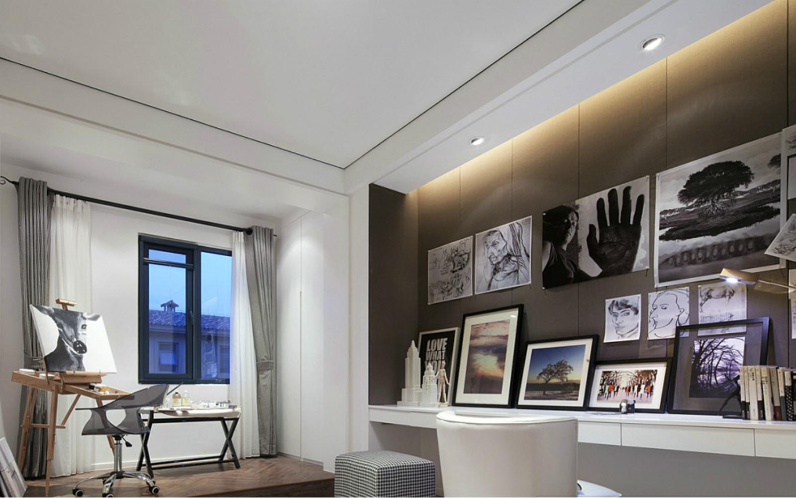 现代简约唯美别墅装修画室布置图