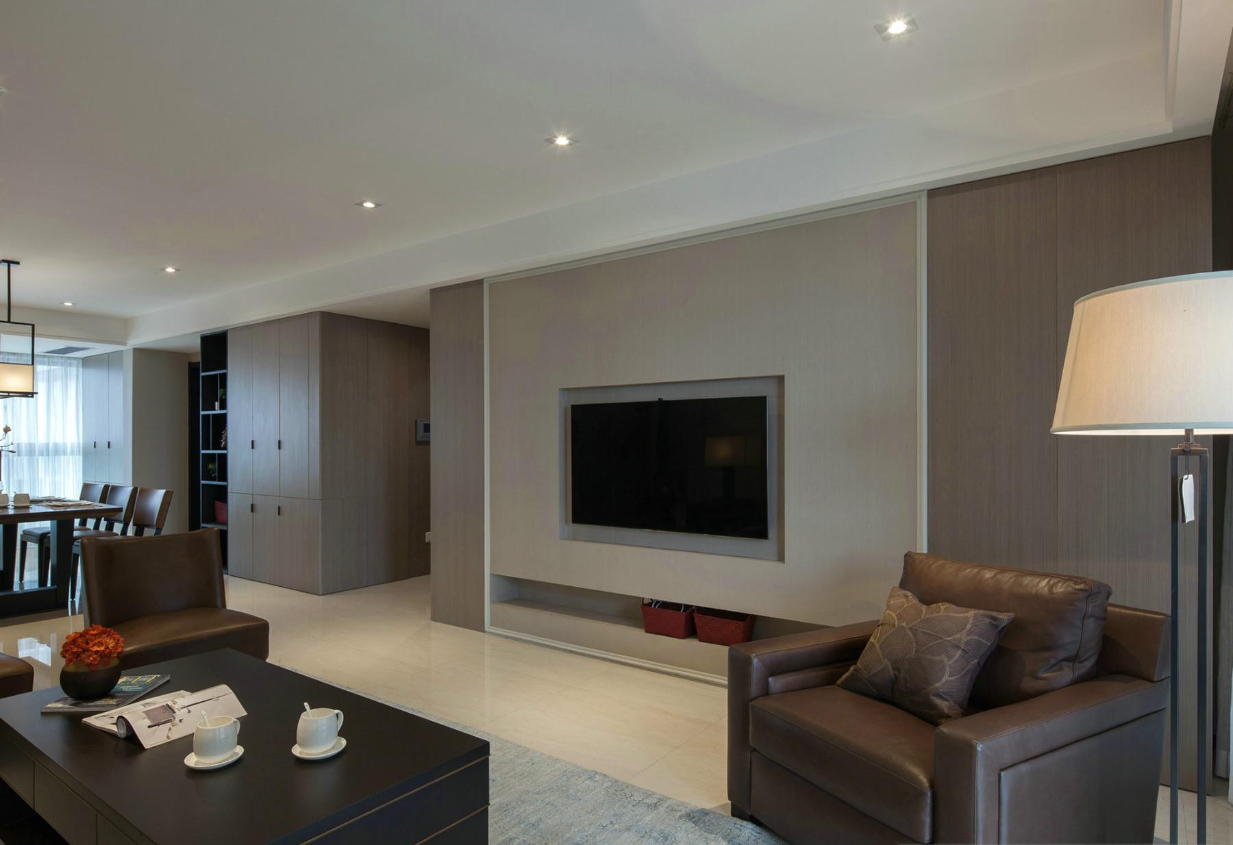 现代风格四房装修电视背景墙图片