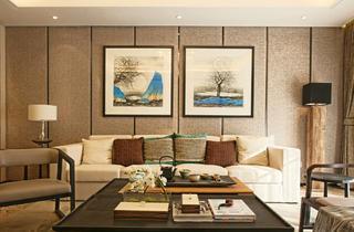 大户型新中式装修沙发背景墙图片