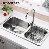 OMOO九牧 厨房水槽 双槽套餐洗菜盆06096 不锈钢水槽