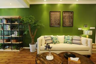 60平美式混搭装修沙发背景墙图片
