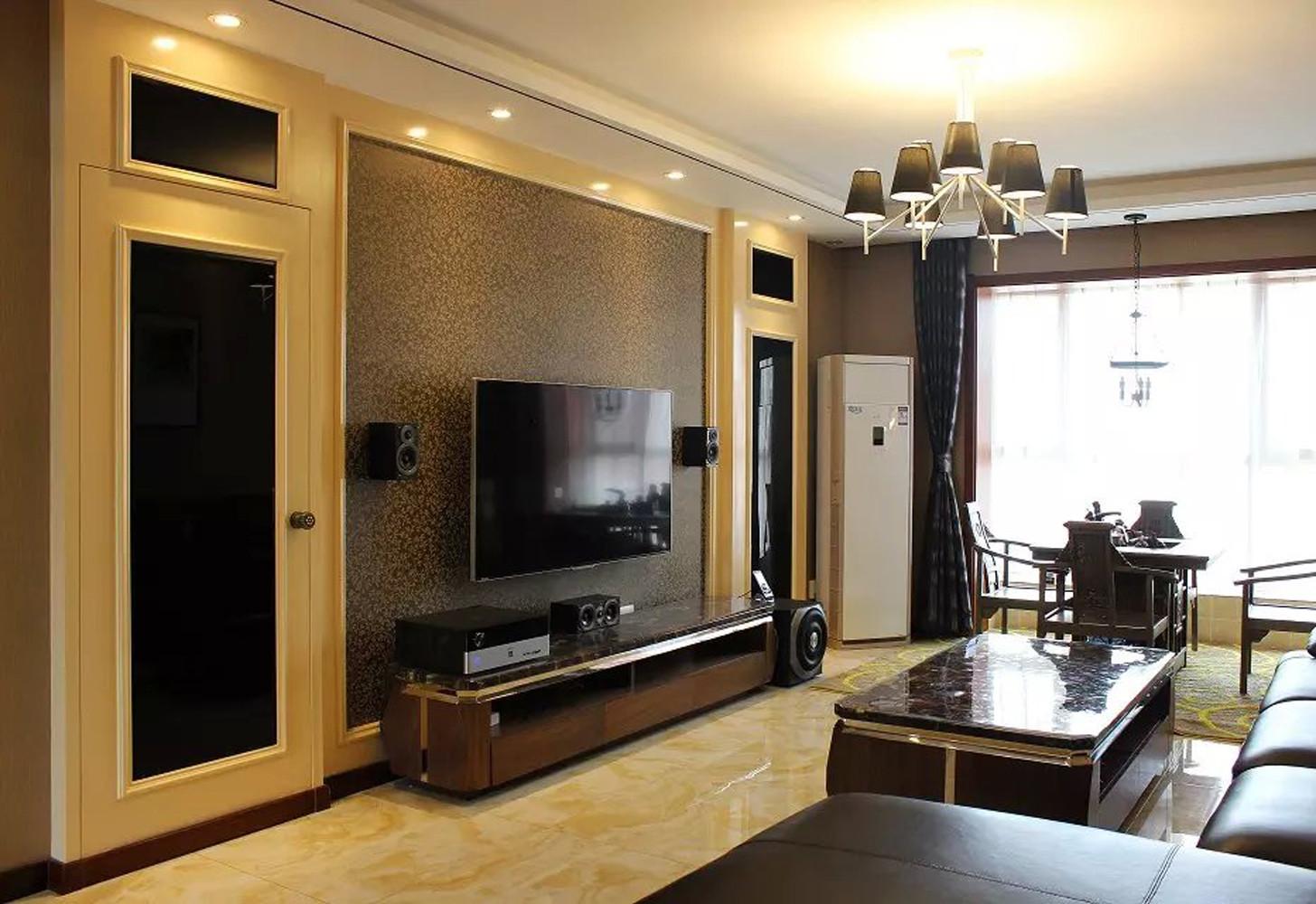 135平现代风格装修电视背景墙图片