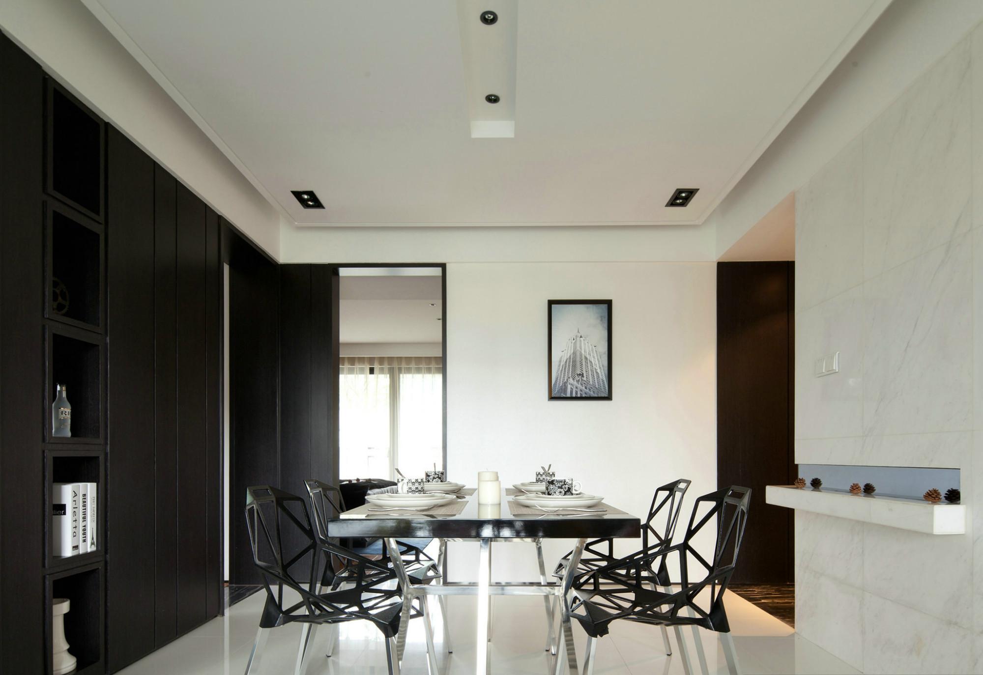 现代简约风三居室装修餐厅设计图