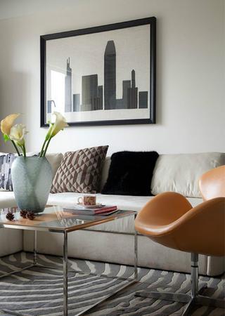 现代简约风三居室装修沙发背景墙图片