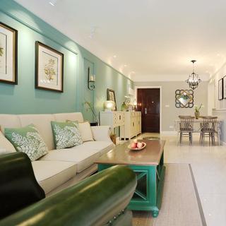 80平现代美式家 蓝白交织空间