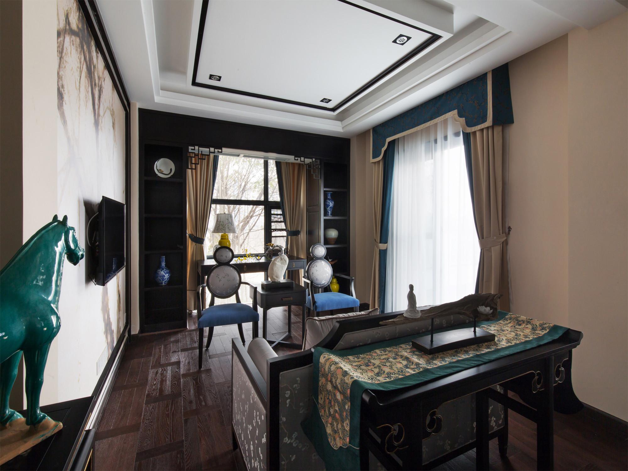 新中式别墅装修书房吊顶设计