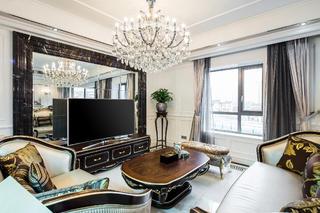 新古典混搭二居装修电视背景墙图片