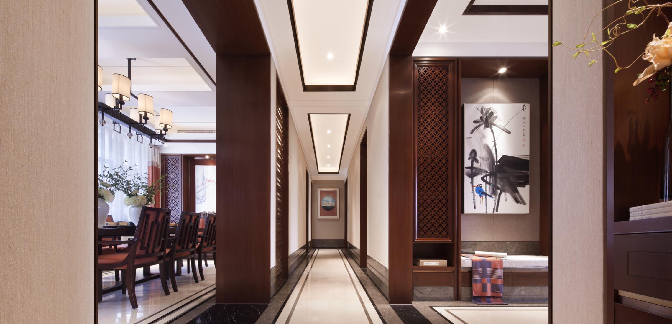 160平中式装修门厅过道