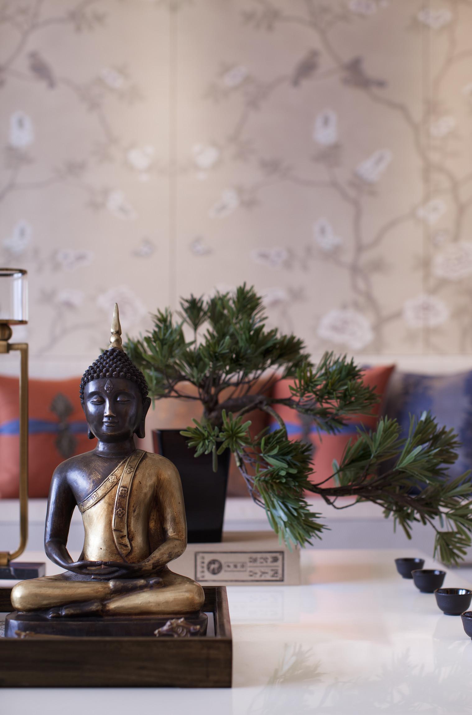 160平中式装修茶几摆件