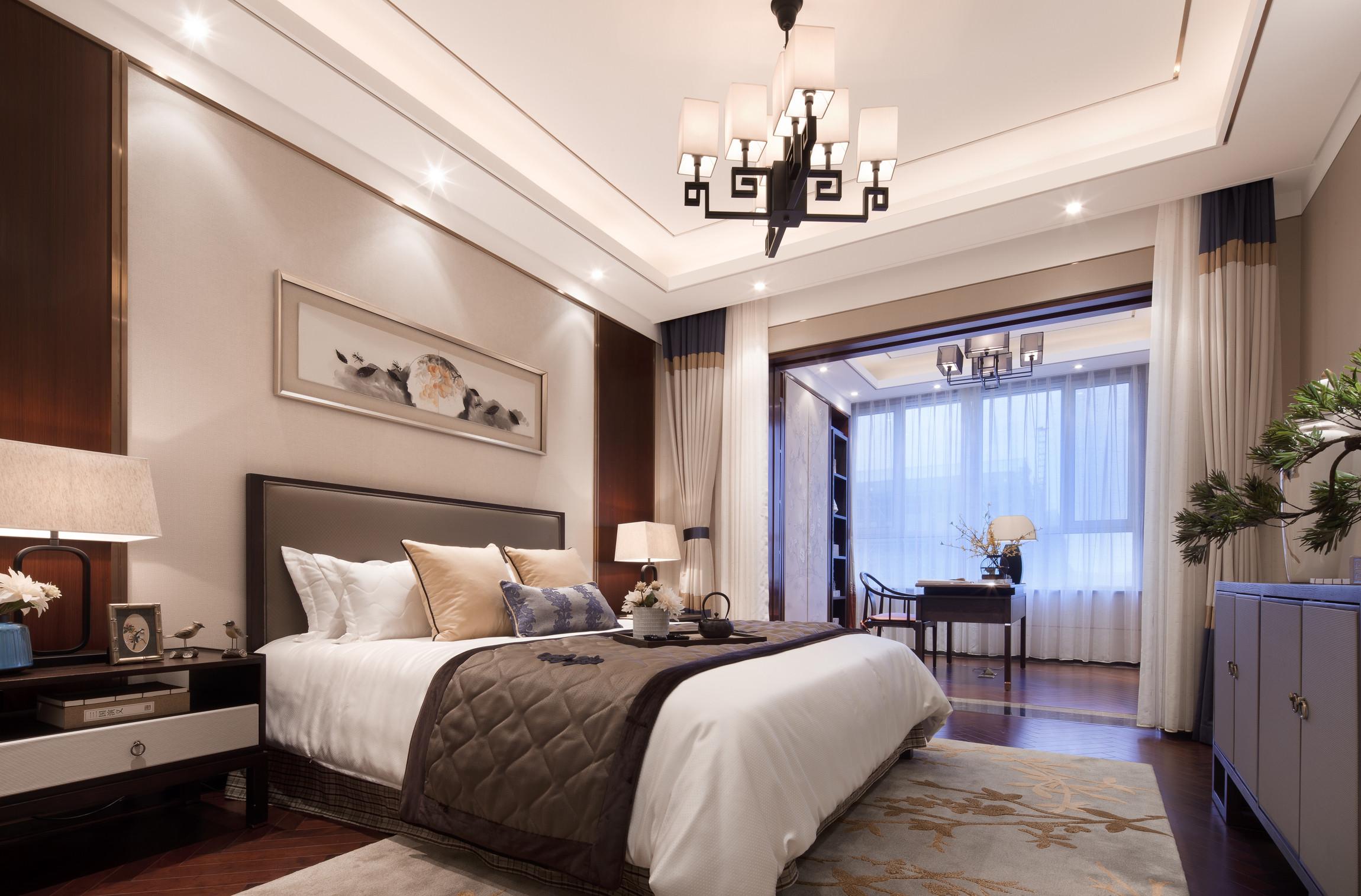 160平中式装修卧室效果图