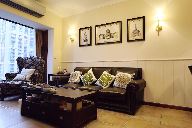 小户型美式风格家沙发背景墙图片