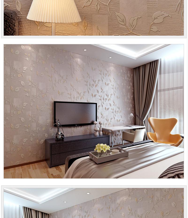 科翔 美式创意壁纸无纺布3d立体客厅卧室电视背景墙纸带花个性图片