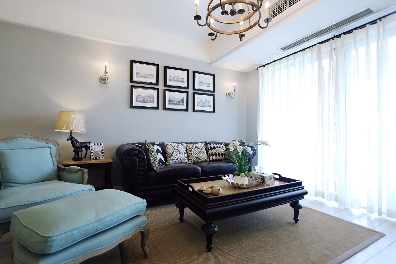 120平现代美式装修沙发茶几图片
