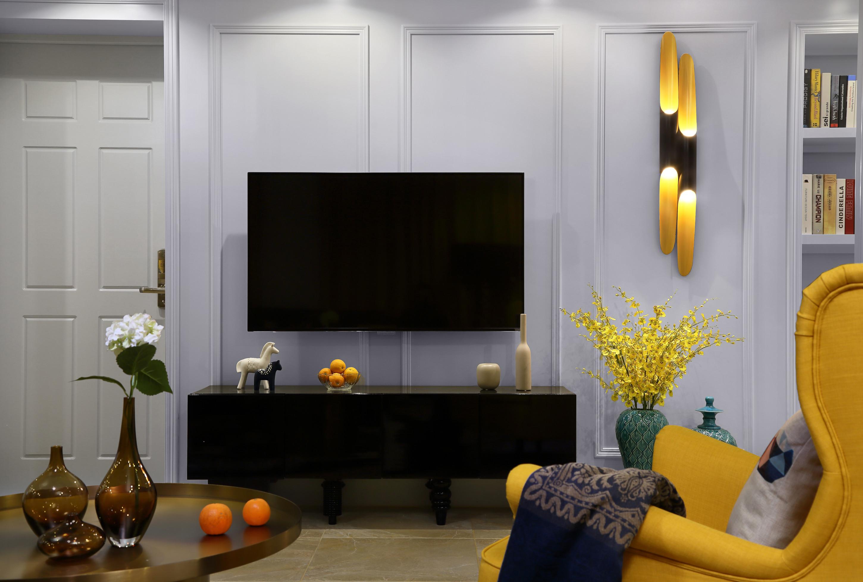 混搭三居装修电视背景墙图片