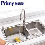 普乐美 加厚304不锈钢水槽双槽套餐 厨房洗菜盆洗碗池一体成型预约