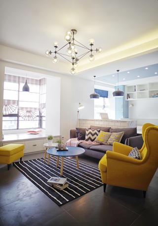 二居室北欧风之家客厅飘窗设计