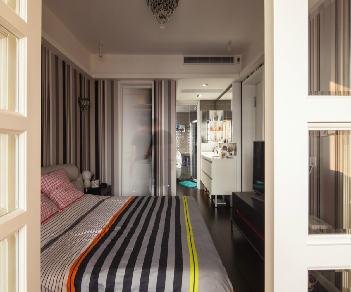 中式风三居装修卧室设计图