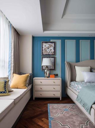 大户型美式装修床头背景墙图片