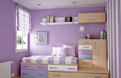 卧室淡紫色装修效果图