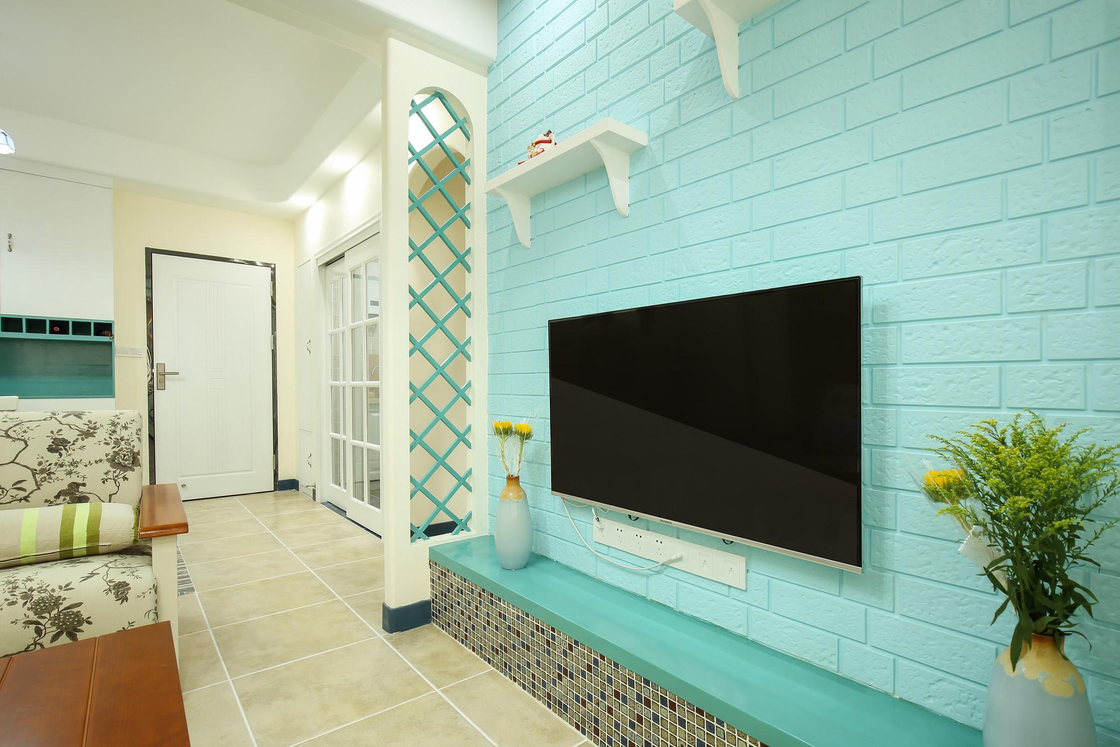 小户型地中海风格家电视背景墙图片