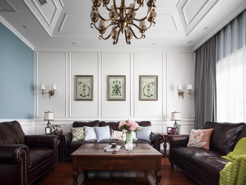大户型美式风装修沙发背景墙图片