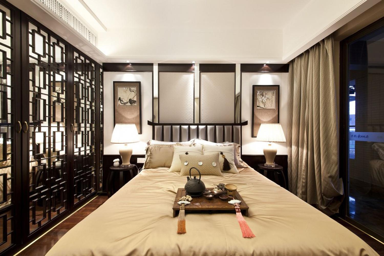 中式三居装修卧室设计图
