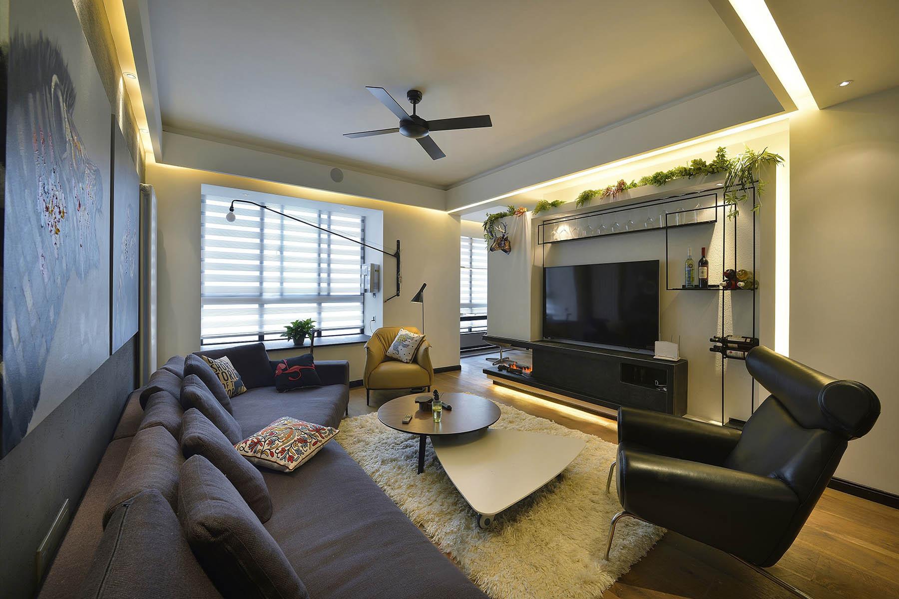 120平三居装修客厅效果图