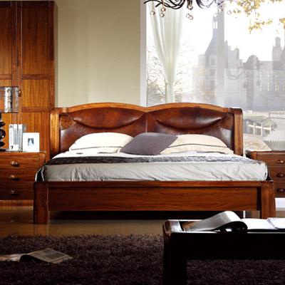 A家 现代简约风格 卧室家具 乌金楠木真皮软包床