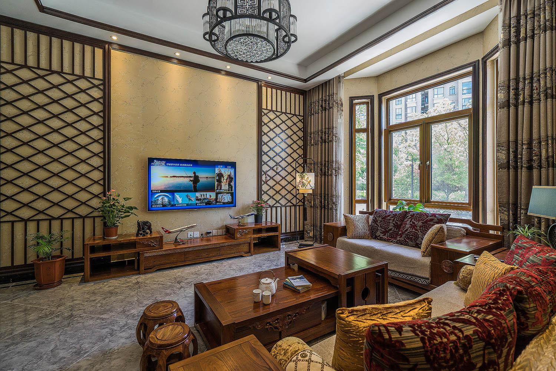 新中式风格别墅装修电视背景墙图片