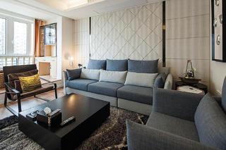90㎡现代简约风格家沙发背景墙图片
