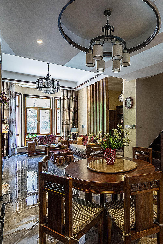 新中式风格别墅装修餐厅吊顶