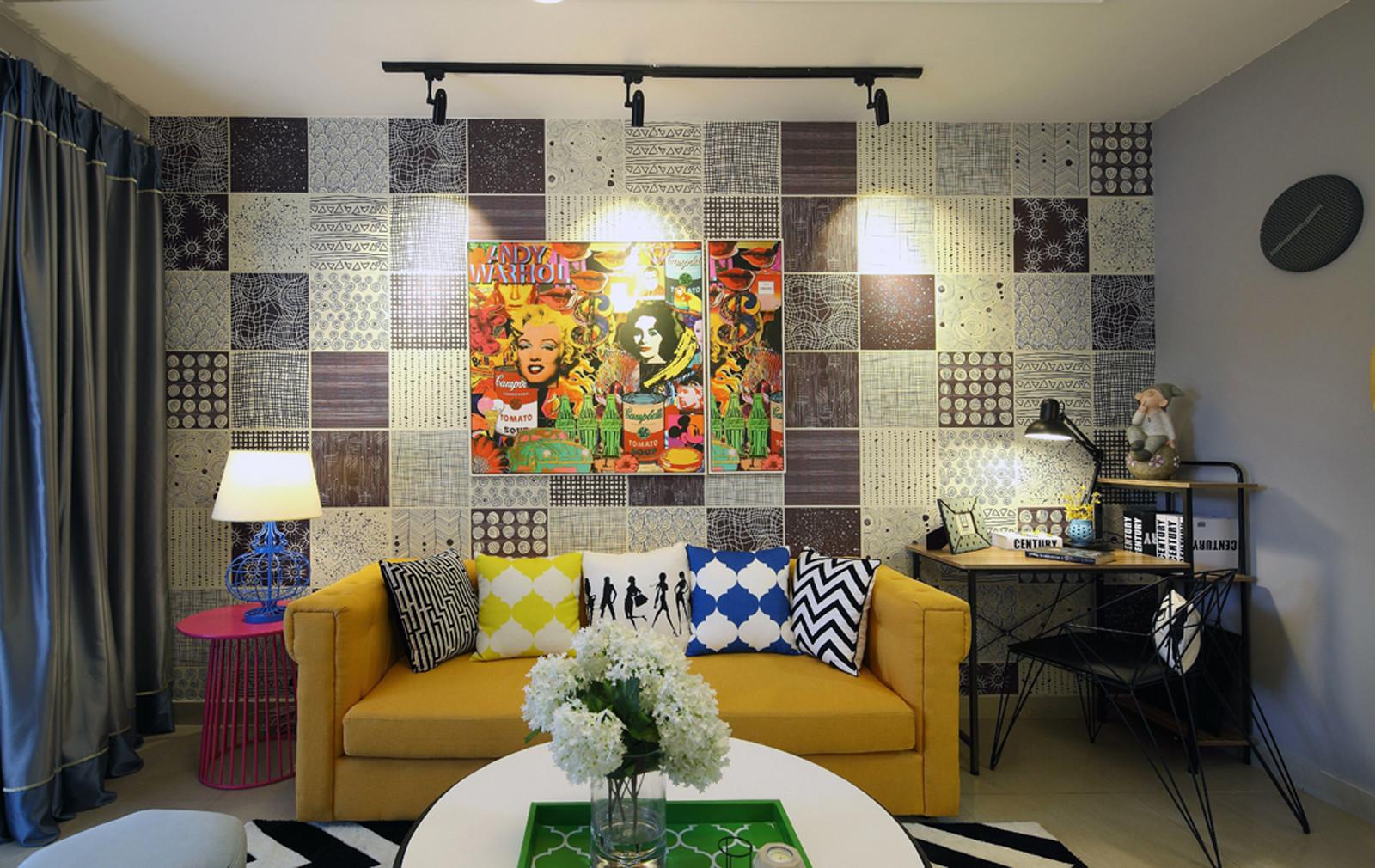 小户型混搭之家沙发背景墙图片