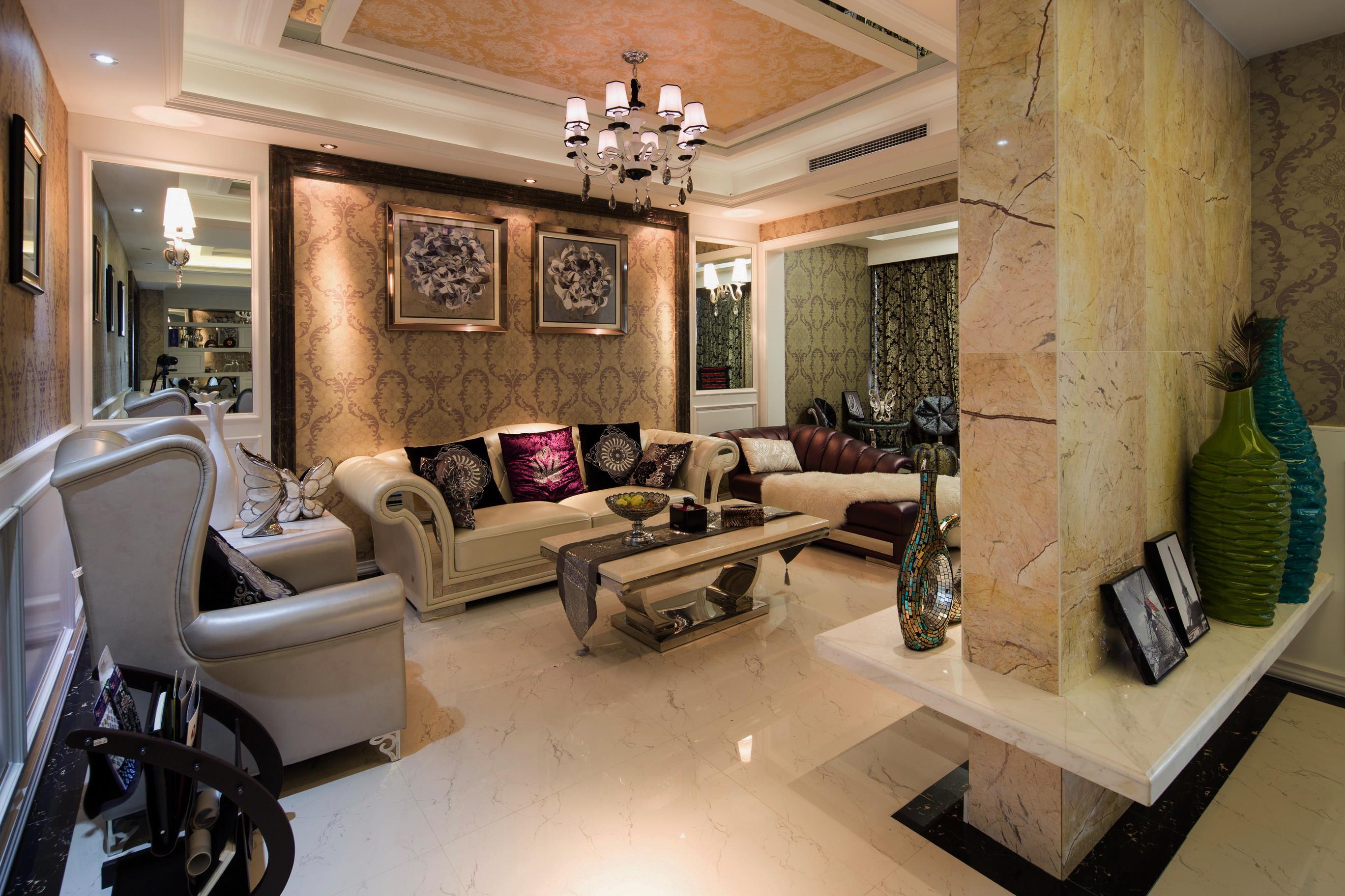 后现代风格别墅装修沙发背景墙图片