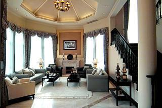中西合璧的复古风情别墅装修客厅效果图