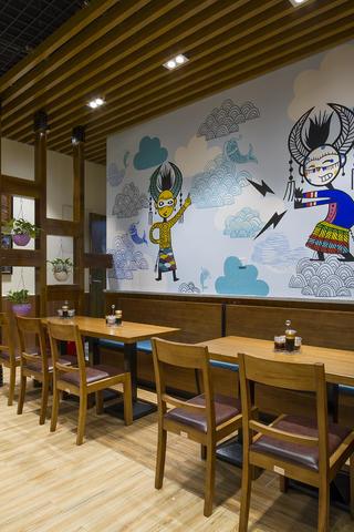 90平东南亚风格餐厅装修卡座背景墙设计