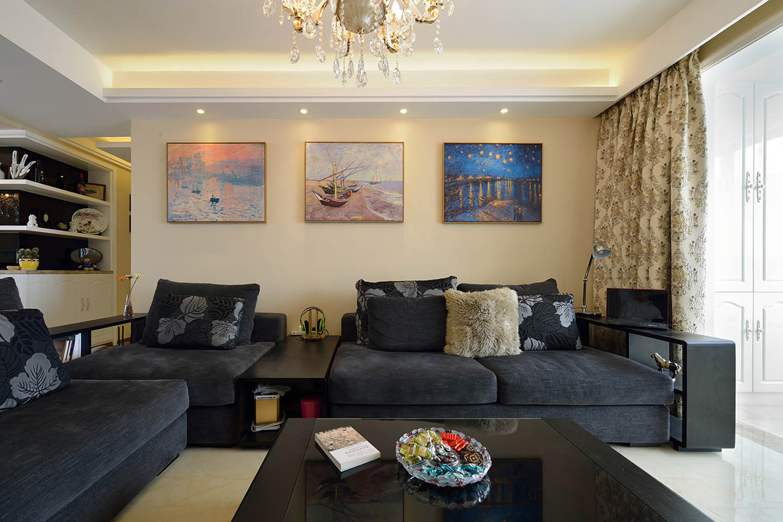 100平现代简欧风格装修沙发图片