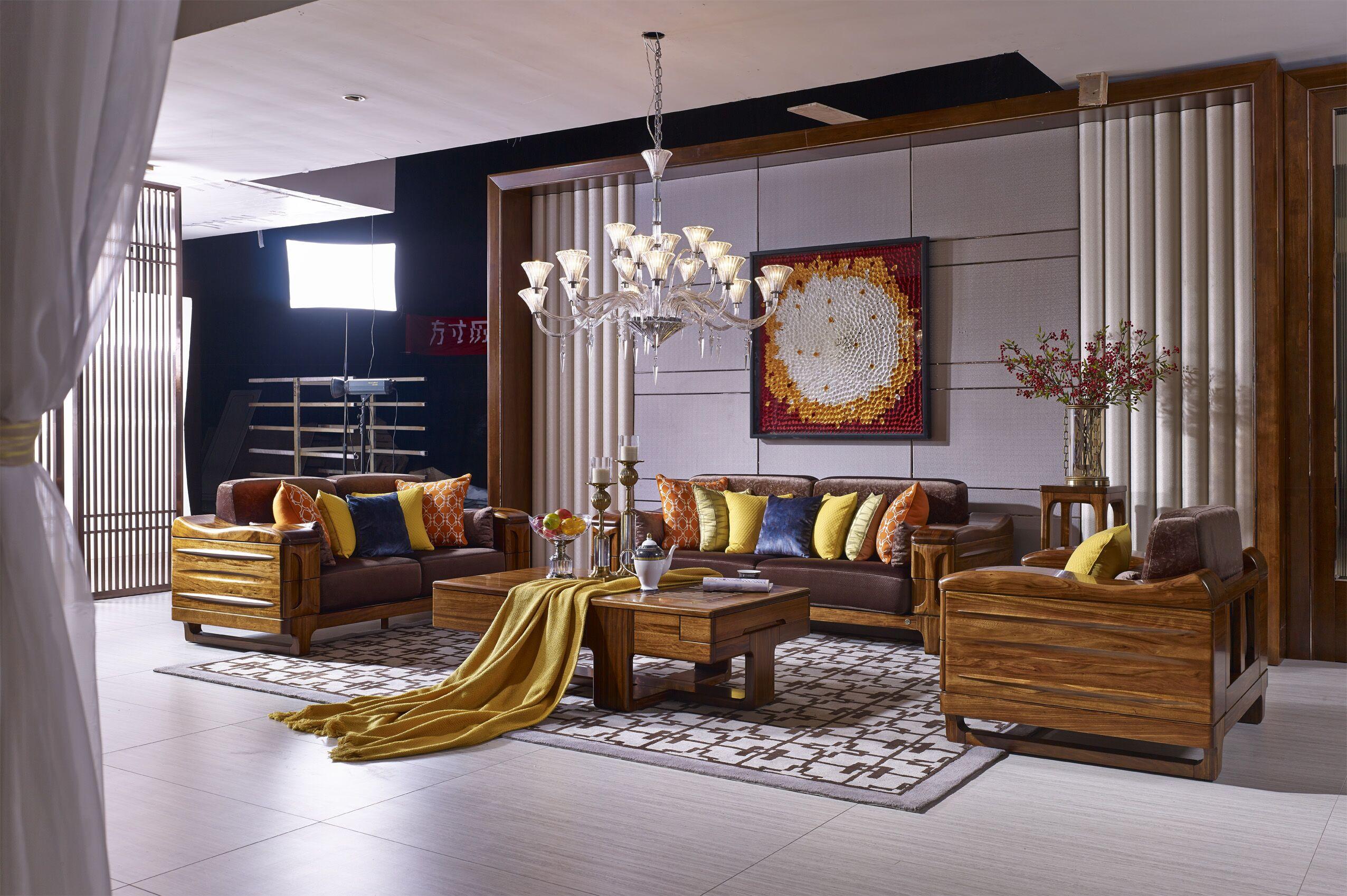 南洋迪克现代新派实木家具 乌金至品系列 实木沙发1+2+3