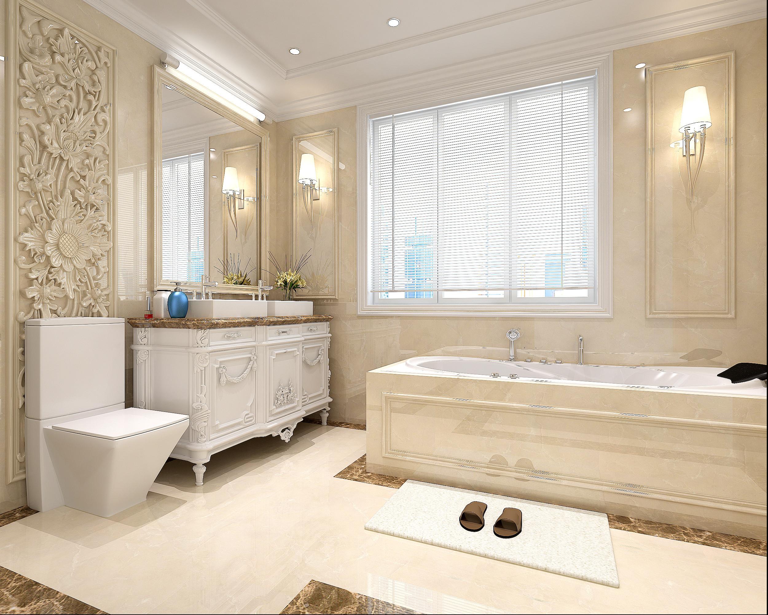 法式轻奢风格别墅装修卫生间效果图
