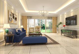 法式轻奢风格别墅装修客厅效果图
